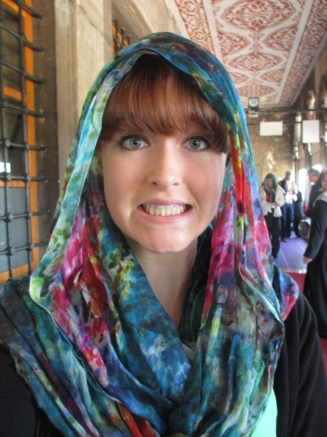 Me at the Blue Mosque! This was the only place in Istanbul that I had to cover my hair.