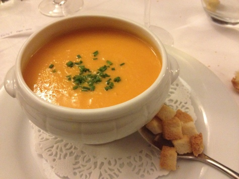 Some sort of squash soup and croutons that were promptly dumped in.